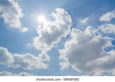 Sunshine on blue sky with white cloud