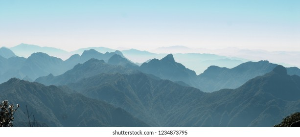 Sunshine on a colorful landscape of beautiful Fan Si Pan (Fansipan) or Phan Xi Pang mountain, the highest mountain in Indochina in Sapa, Hoang Lien National Park, Lao cai province northern Vietnam