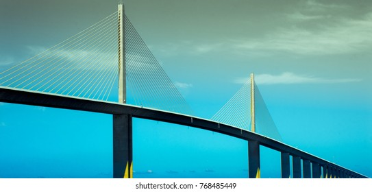 Sunshine Skyway from a boat on the bay