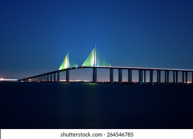 Sunshine Skyway Bridge at night on Florida's Tampa Bay