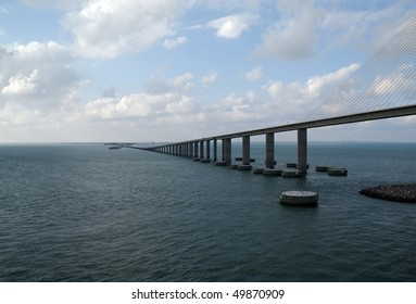 The Sunshine Skyway Bridge - spanning Tampa Bay south of St. Petersburg, FL - shown from the water facing Northeast (Cable Stay type bridge)