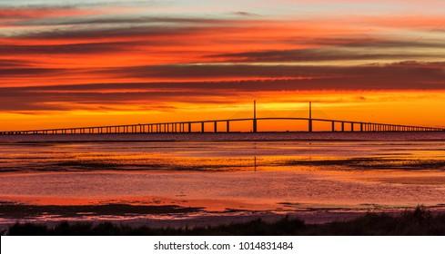 Sunshine Skyway Bridge at Sunrise - St. Petersburg, Florida