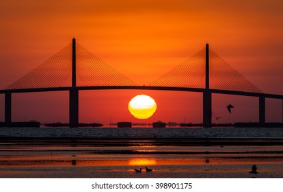 Sunshine Skyway Bridge with sunrise, Tampa Bay