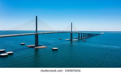 Sunshine Skyway Bridge in Tampa Bay Florida. Large Suspension Bridge that ships pass under
