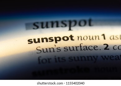 sunspot word in a dictionary. sunspot concept.