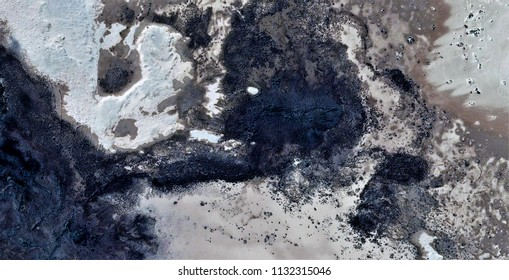 sunspots on the skin of the Earth,polluted desert sand, tribute to Pollock,abstract photography of the deserts of Africa from the air,aerial view, abstract expressionism, contemporary photographic art