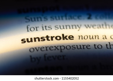 sunstroke word in a dictionary. sunstroke concept.