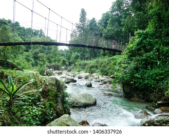 Suntalekhola (Samsing) bridge over Jhalong River, Kalimpong, India - Located near Neora Valley national park popular for tourist for nature walk, trekking, weekend activity and wilderness resorts.