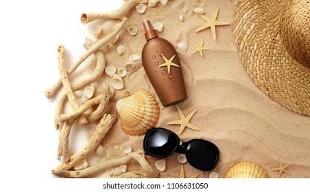 suntan cream bottle on sand beach