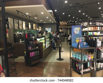 Suntec City, Singapore, 17th October 2017 - Starbucks Coffeee is an American coffee company and coffeehouse chain which sold  coffee beverages, smoothies, tea, baked goods and sandwhiches