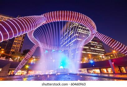 SUNTEC CITY, SINGAPORE - JANUARY 23: Dancing Fountain Night Show at Suntec City January 23,2010 in SUNTEC CITY, SINGAPORE.