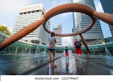 Suntec City, Singapore - March 10, 2014 : The Fountain of Wealth is listed by the Guinness Book of Records in 1998 as the largest fountain in the world