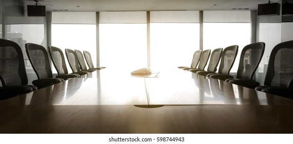 Sun-up in the morning with business conference room/ For  business grow concept