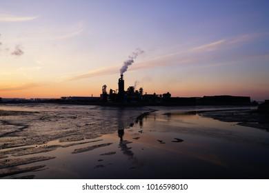 sunup, sunris, sundown, factory,  plant