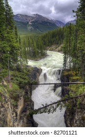 Sunwapta Falls in Jasper National Park, Alberta Canada. Seen along the Icefield Parkway.