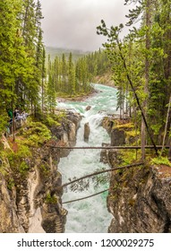 SUNWAPTA FALLS,CANADA - JULY 2,2018 - View of the Sunwapta falls gorge. Sunwapta Falls is a pair of waterfalls of the Sunwapta River located in Jasper National Park.
