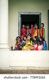 Sunyaragi cave, Cirebon, West Java, Indonesia - December 16, 2017 : Girls in traditional clothes waiting to perform in traditional dances of West Java and Cirebon