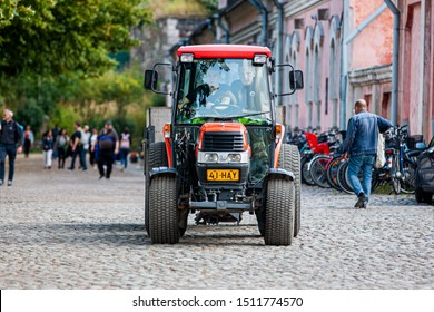 Suomenlina/Finland August 24, 2019 Kubota L3600 tractor. Kubota Corporation is a tractor and heavy equipment manufacturer based in Osaka, Japan.