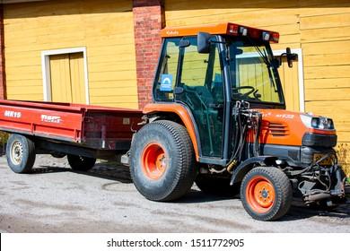 Suomenlina/Finland August 24, 2019 Tractor Kubota stv32. Kubota Corporation is a tractor and heavy equipment manufacturer based in Osaka, Japan.