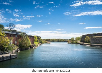 SUOMENLINNA (Sveaborg), HELSINKI, FINLAND - MAY 26, 2017: Scenic summer view of Suomenlinna, Finland with sea and idyllic buildings at bright day