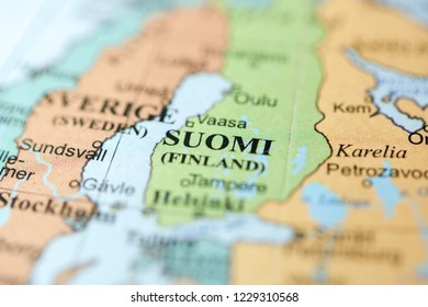 Suomi. Europe on a geography map