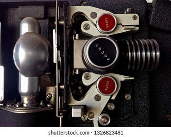 Super 8 film projector close up to interior