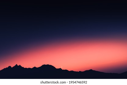 Super Amoled HD Landscape Picture of Purple and Pink Color Sunset on Mountain.