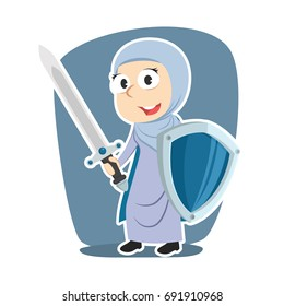 super arabian businesswoman with sword and shield
