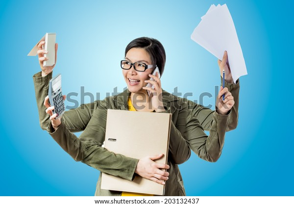super asian working woman happy to work hard worker in blue background