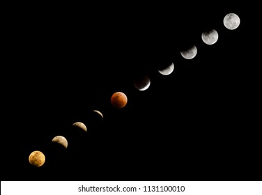 Super blood moon in red colour and lunar eclipse in different phrases from the early evening to late night on clear dark sky background with copy space