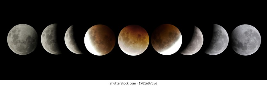 Super Blood Moon Sequence showing Total Lunar Eclipse, photographed in Palmerston North, New Zealand
