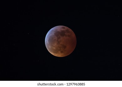 The Super Blood Wolf Moon during the total lunar eclipse on Jan. 20 2019.