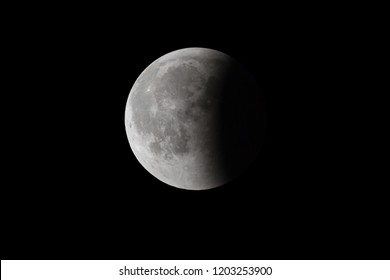 Super Bloody Moon, full eclipse last phase against black sky background, one third of the Moon surface covered by Earth's shadow