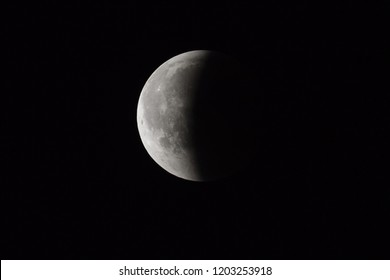 Super Bloody Moon, full eclipse end phase against black sky background, half of the Moon surface covered by Earth's shadow