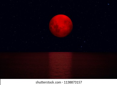 "Super bloody moon with Lunar eclipse ""Elements of this image furnished by NASA """