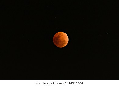 Super Blue Blood Moon on 31 January 2018 in Thailand at 8.29 pm. The rare lunar eclipse, three lunar phenomena (super moon, blue moon and total lunar eclipse) coincide