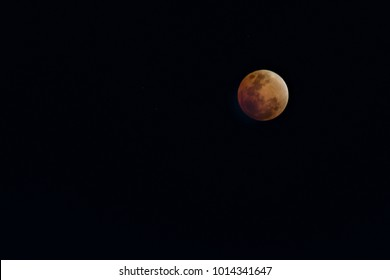 Super Blue Blood Moon on 31 January 2018 in Thailand at 8.10 pm. The rare lunar eclipse, three lunar phenomena (super moon, blue moon and total lunar eclipse) coincide