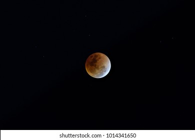 Super Blue Blood Moon on 31 January 2018 in Thailand at 9.06 pm. The rare lunar eclipse, three lunar phenomena (super moon, blue moon and total lunar eclipse) coincide