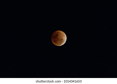 Super Blue Blood Moon on 31 January 2018 in Thailand at 8.48 pm. The rare lunar eclipse, three lunar phenomena (super moon, blue moon and total lunar eclipse) coincide