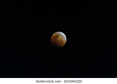 Super Blue Blood Moon on 31 January 2018 in Thailand at 7.50 pm. The rare lunar eclipse, three lunar phenomena (super moon, blue moon and total lunar eclipse) coincide