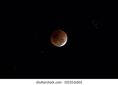 Super Blue Blood Moon on 31 January 2018 in Thailand. Shoot with telephoto lens.Background is star.
