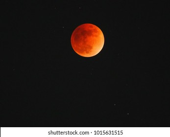 Super Blue Blood Moon (Total Lunar Eclipse) on January 31, 2018 in Tokyo,Japan.