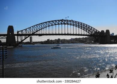 super blue sky and ocean with sydney bridge