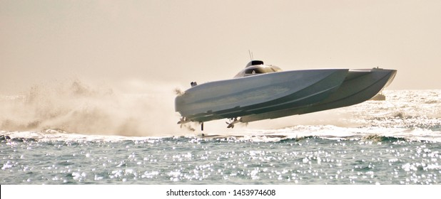 super boat wave jump above the water surface