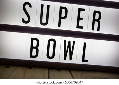 'Super Bowl' text in lightbox