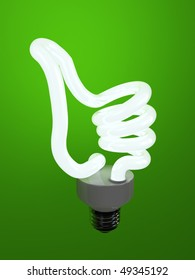 super bulb concept energy saving fluorescent isolated on green background