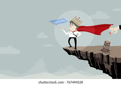 Super businessman with crown and flag of success on the cliff, but dynamite behind him, Illustration flat image