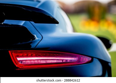 Super Car back view, shallow depth of field