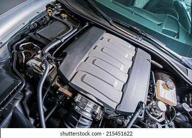 Super Car Engine. Under the Hood. Powerful 8 Cylinders V8 Gas Engine.