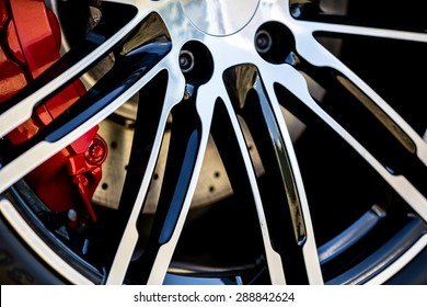 Super Car Wheel and Disc Brake, Shallow Depth of Field
